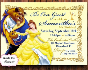Beauty and the Beast Invitation, Disney Belle Princess Birthday Paty Invite, Beauty and the Beast Birthday Party Invitation, Personalized