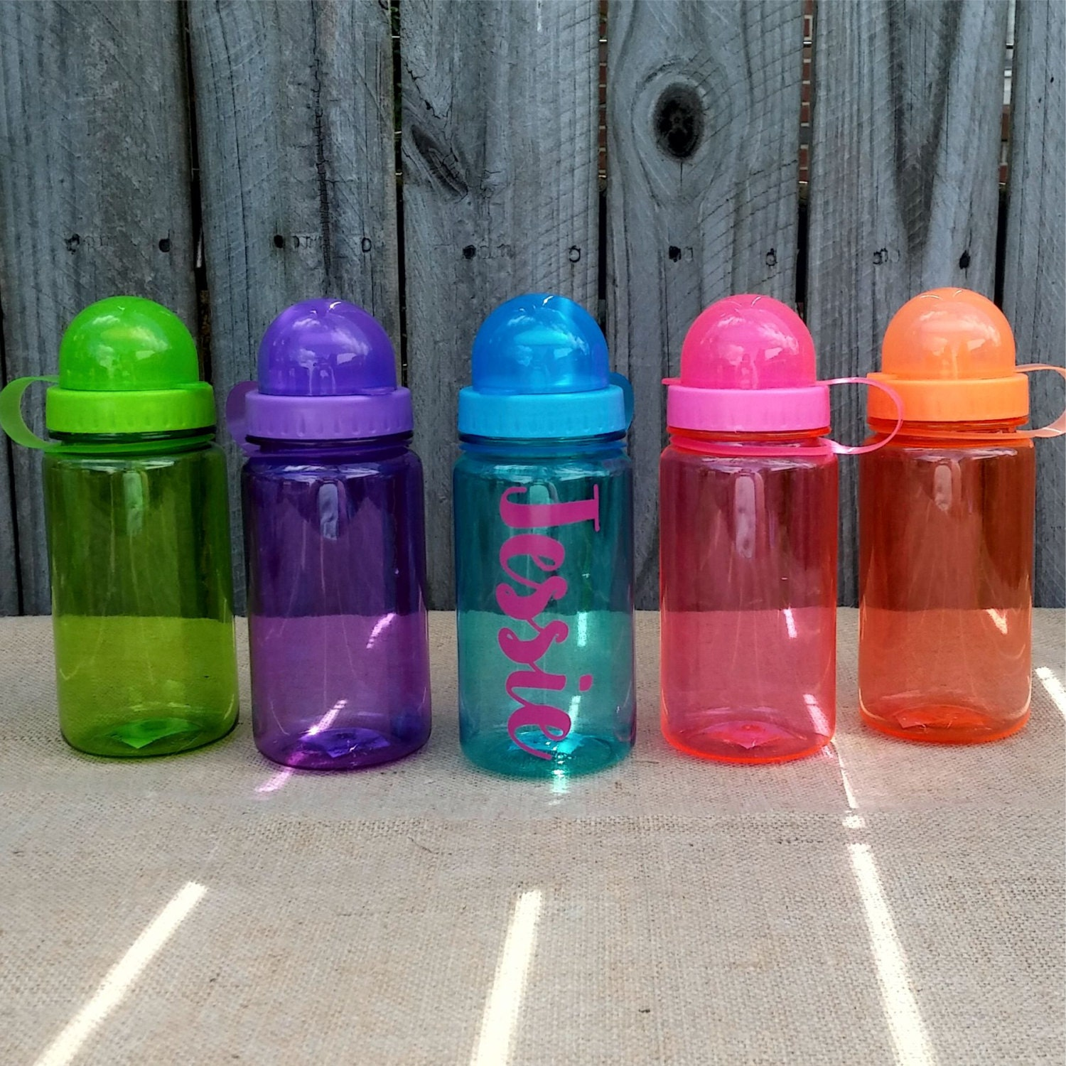 One plastic water bottle personalized with name or monogram for Unique plastic bottles