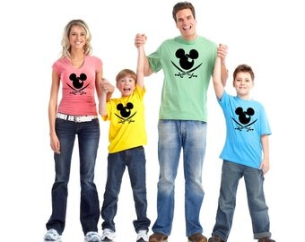 Pirate Mickey - Matching Disney Family Vacation T-Shirts - Infant Through Adult Sizes Available Choose Your Quantity Extremely Fast Shipping