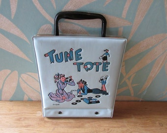 1950s blue 'Ponytail Tune Tote' hardcover vinyl record case for 45rpm singles
