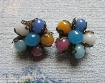 1950s/60s multicolour glass bead cluster clip on earrings