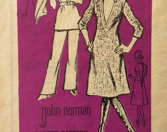 CLEARANCE!!  Mail order M480 misses dress or tunic and pants size 14 bust 36 waist 27 vintage 1970's sewing pattern