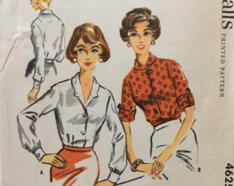 McCall's 4625 vintage 1950's misses blouse sewing pattern size 12 bust 32