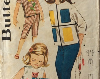 Butterick 2301 girls blouse and pants or shorts size 6 vintage 1960's sewing pattern with appliques