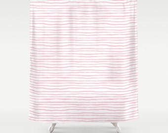 pale pink shower curtain. Pink Stripe Shower Curtain Kids Bathroom  Light Decor shower curtain Etsy