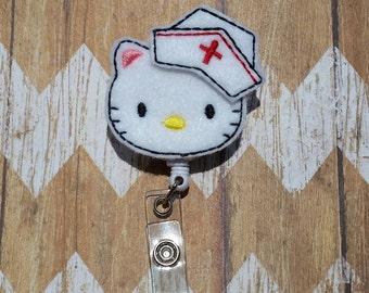 Hello Kitty Nurse Badge Reel, swivel badge reel, student ID badge, Hello kitty nurse badge, Nurse Hello Kitty Badge Reel