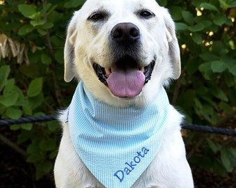 Aqua Personalized Seersucker Bandana || Southern Classic Tie Pet  Scarf || Puppy Gift by Three Spoiled Dogs