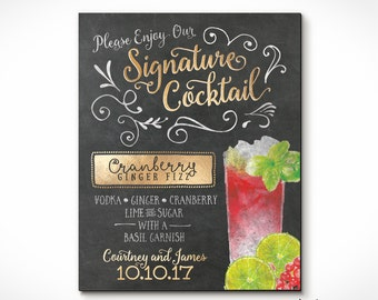 Chalkboard Signature Drink Recipe Print or Sign Customized for YOU! Perfect Gift Idea. Custom Prints!