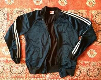Black satiny track coat fleece lined!