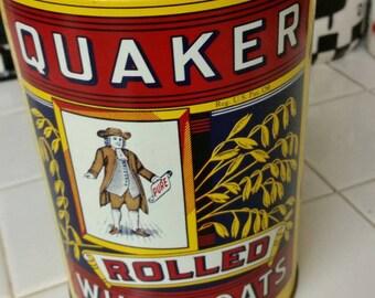 "1984 Quaker Oats Collector Tin Replica of 1896 Label 6"" Tall"