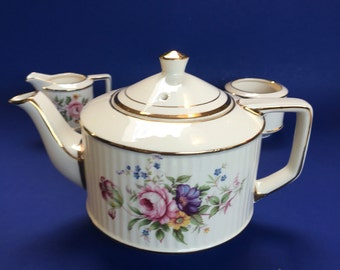 Sadler Floral Gold & Ivory Vintage Teapot, Cream pitcher and Sugar bowl 5-6 Cup England