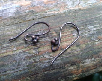 Solid Copper Tribal Style Aged motif Ear Wires Ear wires UK shop