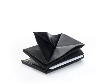 black leather wallet - thin mens wallet - mens slim wallet - credit card wallet - thin wallet - small wallet - coin wallet - WALLABE