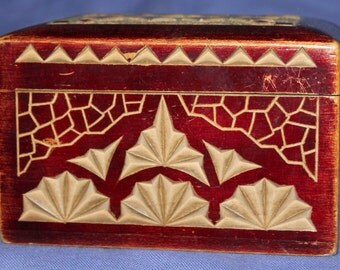 Vintage hand made playing card wood box