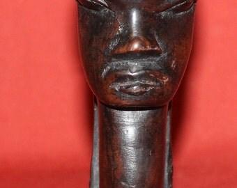 Vintage Hand Carving Wood African Male Head Figurine
