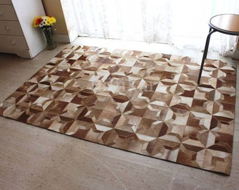 BUNKAR Handmade Natural Cowhide Rug : Brown Stars
