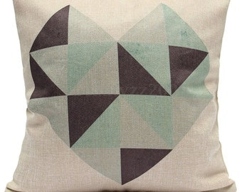 Geo Hearts cushion cover, pillow cover