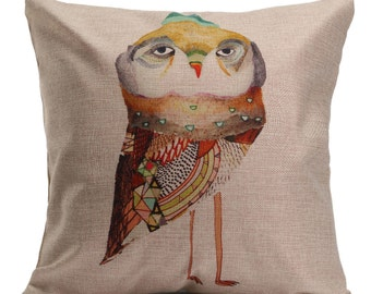 Hipster owl cushion cover, pillow cover