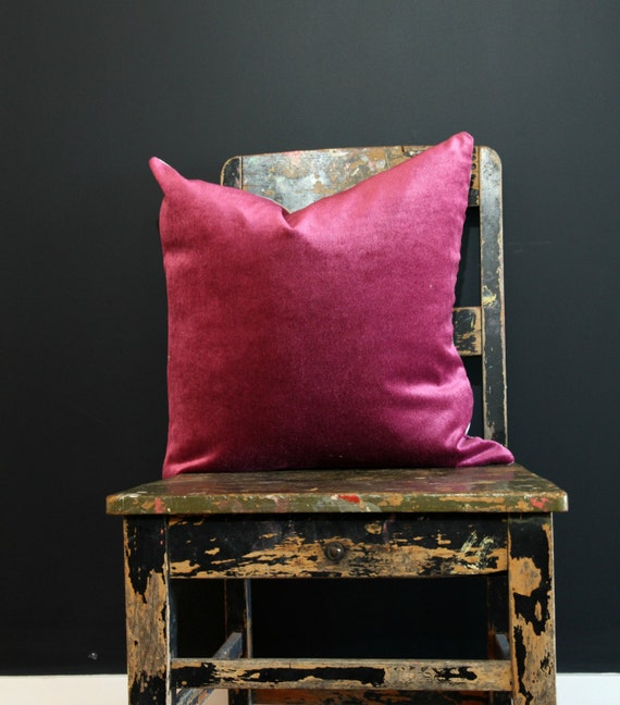 Fuschia Velvet Throw Pillows : Fuschia Purple Velvet & Natural Linen Pillow Cover Purple