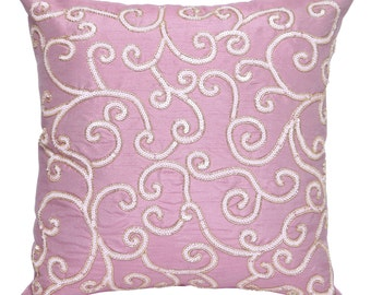 Sequin Decorative Throw Pillow Cover Accent Pillow Couch Toss Sofa Pillow 16x16 Pink Pillow Embroidered Swirls Sequin Pillow