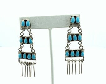 Sterling Silver Turquoise Chandelier Earrings! Southwest Native American Handmade Collectable