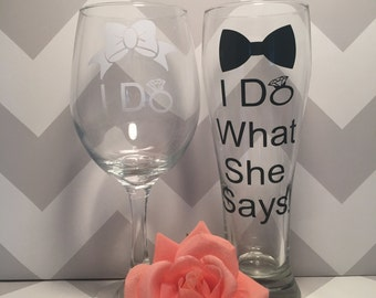 I Do couple glasses,  couple glasses,I Do / I Do What She Says Funny Wedding Wine Glasses, Engagement Gift, Wedding Gift