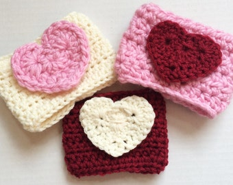 Cup cozies/Pink cup cozy/Cream cup cozy/Red cup cozy/Drink sleeves/Crochet cup cozies/ Teacher gifts/Valentine gifts/Special occasion gifts