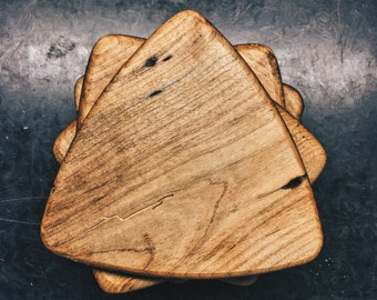 Reclaimed Barnwood Flooring Small Guitar Pick Serving/Cutting Board or Trivet From Hard Maple