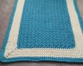 Custom order-Theresa-Plush thick crocheted azure and white bath mat or rug-Cotton crochet azure and off-white bath mat or rug-nursery rug.