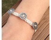 Knotted Vintage Bracelet-Natural Hemp Cord Bracelet-Button Bracelet-Macrame Bracelet-Natural Fiber Bracelet-Homemade.