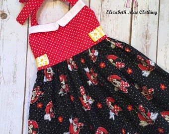 Vintage Style Minnie Mouse Dress, 12 months to 10 (runs 1 size small)