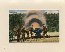 VT  Colchester Vermont Fort Ethan Allen Vermont Linen WWII Military Postcard Artillery Unit Firing Unused Color Tichnor Brothers - 6525P