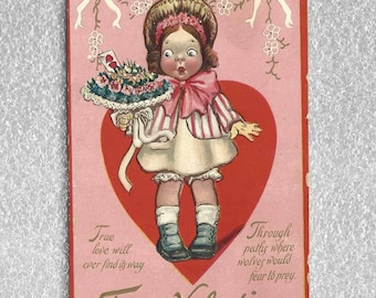 Vintage Valentine's Day Postcard Wide Eyed Comical Girl with Bouquet of Flowers To My Valentine Raphael Tuck Loving Hearts Series ~ 5437d
