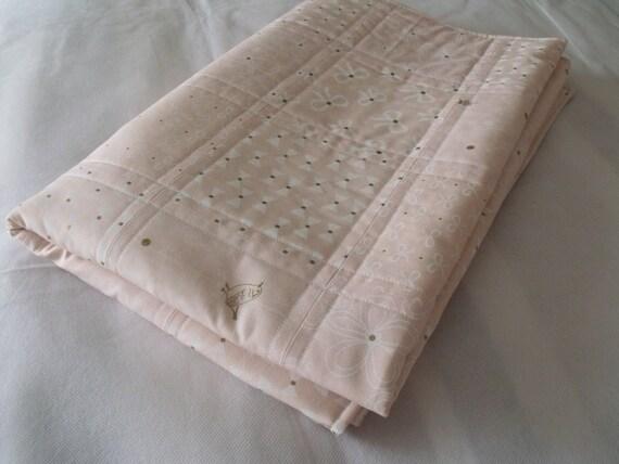 "baby girls quilt, cot duvet, crib quilt, baby blanket,nursery bedding, quilted blanket, 37"" x 48"""