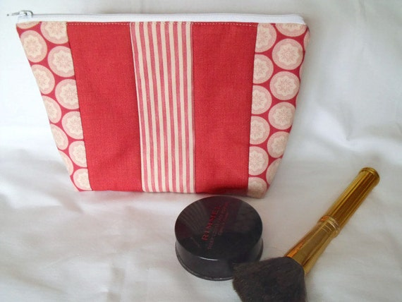 toiletry bag, make up holder, dark red cosmetic bag, large zipped pouch, quilted clutch, Tilda cotton fabric