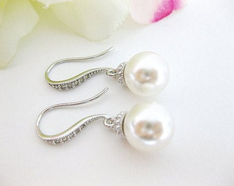Bridal Pearl Earrings Swarovski 10mm Round Pearl Earrings Drop Dangle Earrings Bridesmaid Earrings Wedding Jewelry Bridesmaid Gift (E005)