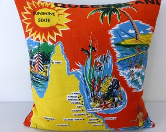 Queensland Cushion Cover Australiana Upcycled Australian Vintage Tea Towel Beach Decor Surfing Boating Great Barrier Reef Cairns Tropical