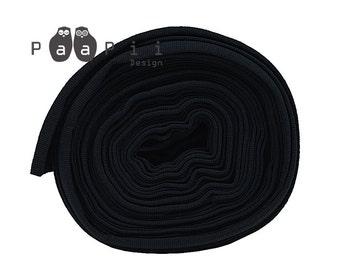 Organic ribbing in black, black ribbing, ribbing for knits, ribbing for sewing, organic fabric, rib knit