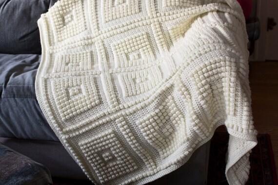 Cream Color Handmade Acrylic Throw Blanket With Large Nubby
