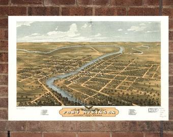 Vintage Fort Atkinson Print, Aerial Fort Atkinson Photo, Vintage Fort Atkinson WI, Old Fort Atkinson Photo, Fort Atkinson Wisconsin Poster