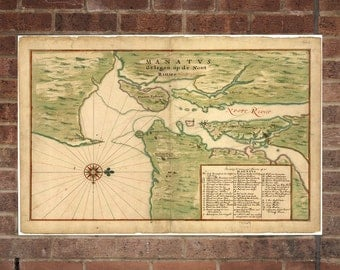 New York City  Vintage Print Poster Map in 1670