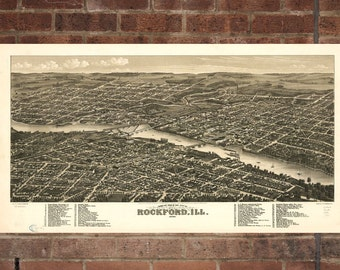 Rockford Illinois Vintage Print Poster Map 1880 Poster of IL Map Art Wall Decor
