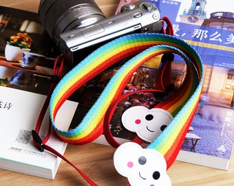 DSLR Camera Strap Polaroid Fujifilm Instax Camera Compact Camera Strap Smiley Rainbow Adjustable Length