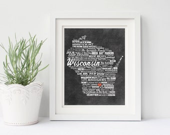 Personalized WISCONSIN State Chalkboard WordArt Add your Hometown & Family Names! Printable DIGITAL Artwork  Badgers Green Bay Packers