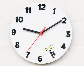 Beer o'clock Clock ~ beer clock ~ beer decor ~ beer lover gift ~ Unique wall clock ~ Alcohol ~ Beer gift ~ it's beer o'clock Dad gift friend