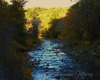 Flowing Through Time At Rivers Edge Grafton Vermont Fall Foliage New England Digital Art Photography Print