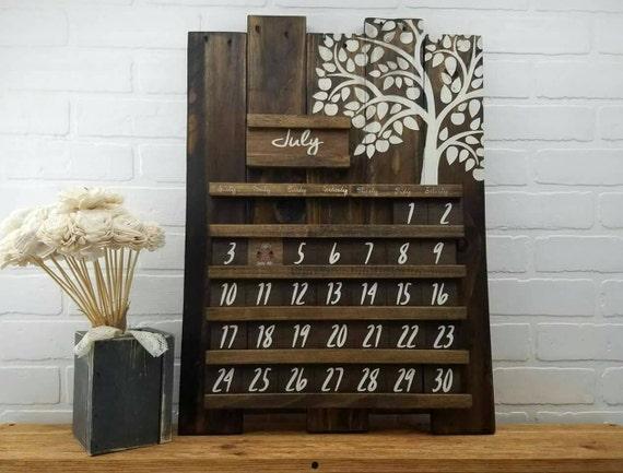 Perpetual Calendar Wood : Wooden calendar perpetual wood rustic