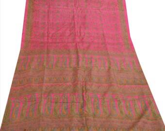 KK Pure Silk Saree Pink Printed Sari Craft Fabric