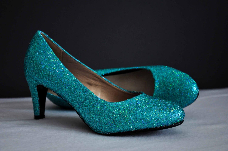 Wedding shoes blue low heels blue wedding shoes glitter