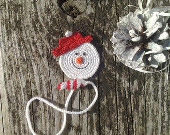 Crochet Bookmark  Crochet Snowman  Handmade bookmark